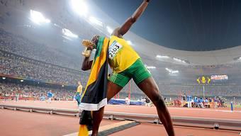 Usain Bolt setzte 2008 in Peking nach dem Olympiasieg über 200 m zu seiner berühmten Bogenschützen-Pose an