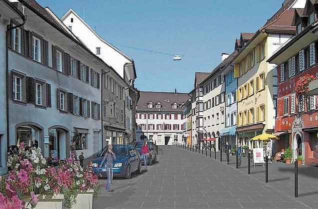 Ob die Schwertgasse zur Begegnungszone oder ganz vom Verkehr befreit wird, damit beschäftigen sich die Bad Zurzacher bald an einem Workshop.