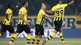 Guillaume Hoarau (r.) brachte die Young Boys 1:0 in Führung
