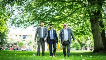 Die drei bürgerlichen Präsidenten im Gleichschritt: Thomas Burgherr (SVP), Matthias Jauslin (FDP) und Markus Zemp (CVP, von links) wollen für ihre Parteien zusammen zehn Sitze holen.