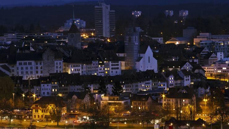 So sah Aarau während der Earth Hour 2012 aus.