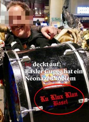 Die Pauke mit der Aufschrift «Ku Klux Klan Basel».