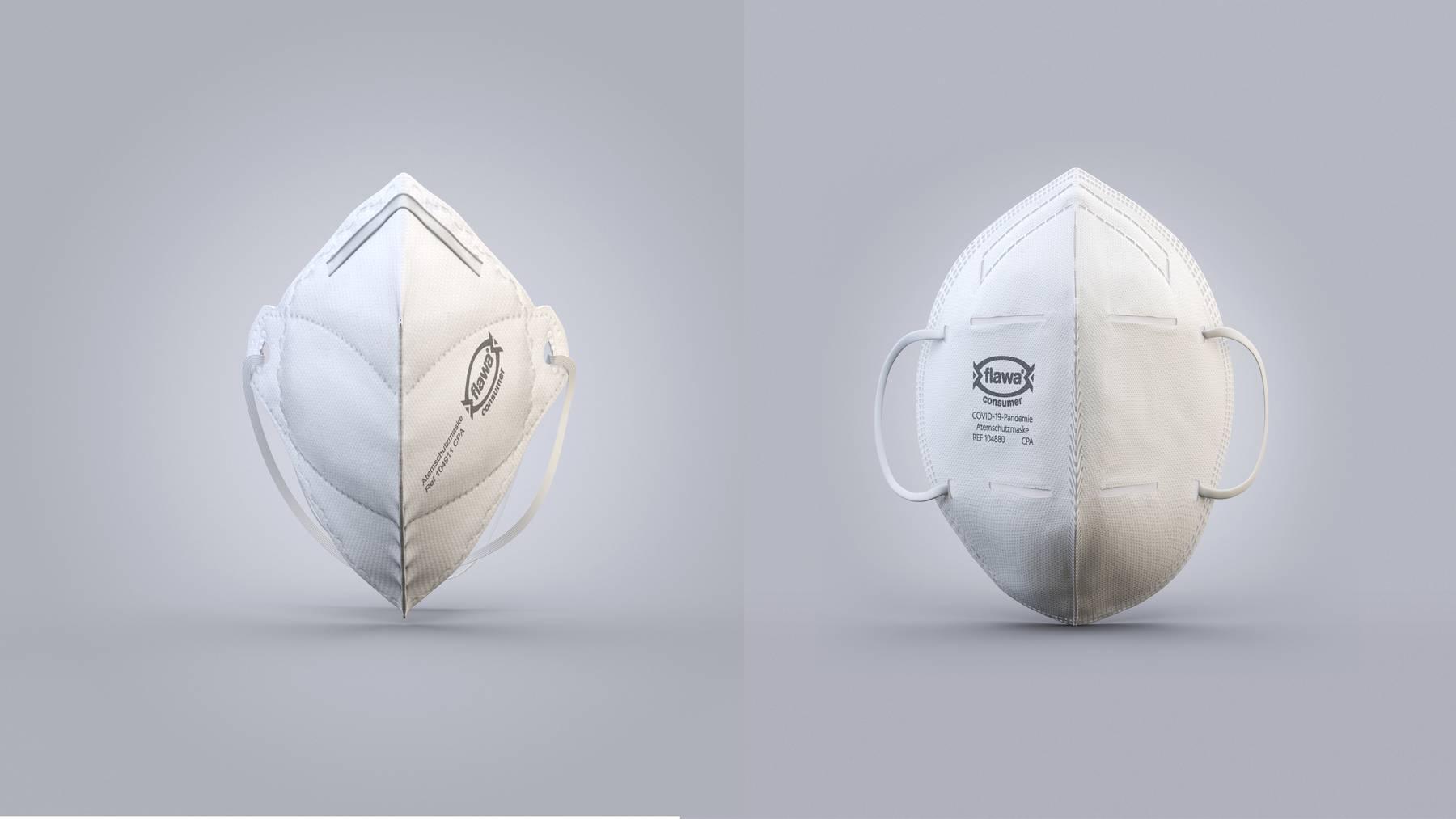 Die zertifizierten Schutzmasken gibt es in zwei Ausführungen.