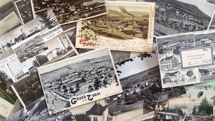 Bei der Schaufensterausstellung werden Postkarten aus der Sammlung des Badener Ehrenbürgers Sepp Schmid gezeigt.