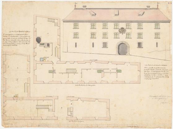 Pfarrhaus Andelfingen vor dem Um- bzw. Neubau, Hauptfassade und Grundrisse, 1780.