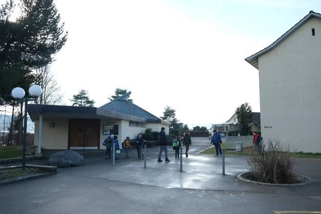 Bilder von der Schulanlage Büel mit dem Schulhaus Büel A (gelb), dem Schulhaus Büel B (braun) und dem Freizeitpavillon (blau).