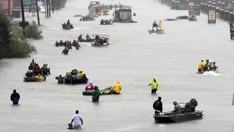 Überflutete Strassen in Houston nach Hurrikan Harvey: 2017 war das teuerste Katastrophenjahr der US-Geschichte. (Archiv)