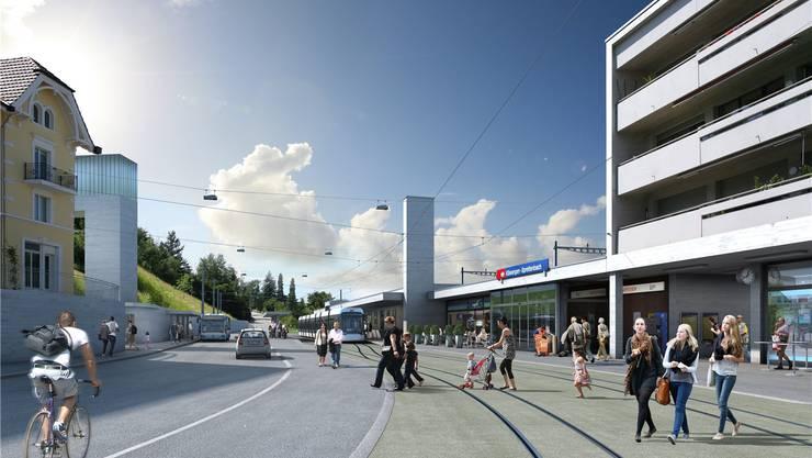 So könnte sich der Endbahnhof der Limmattalbahn in Killwangen ab 2022 präsentieren.
