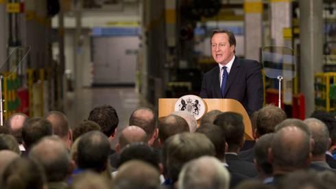 David Cameron spricht in Rocester zum Thema Immigration.