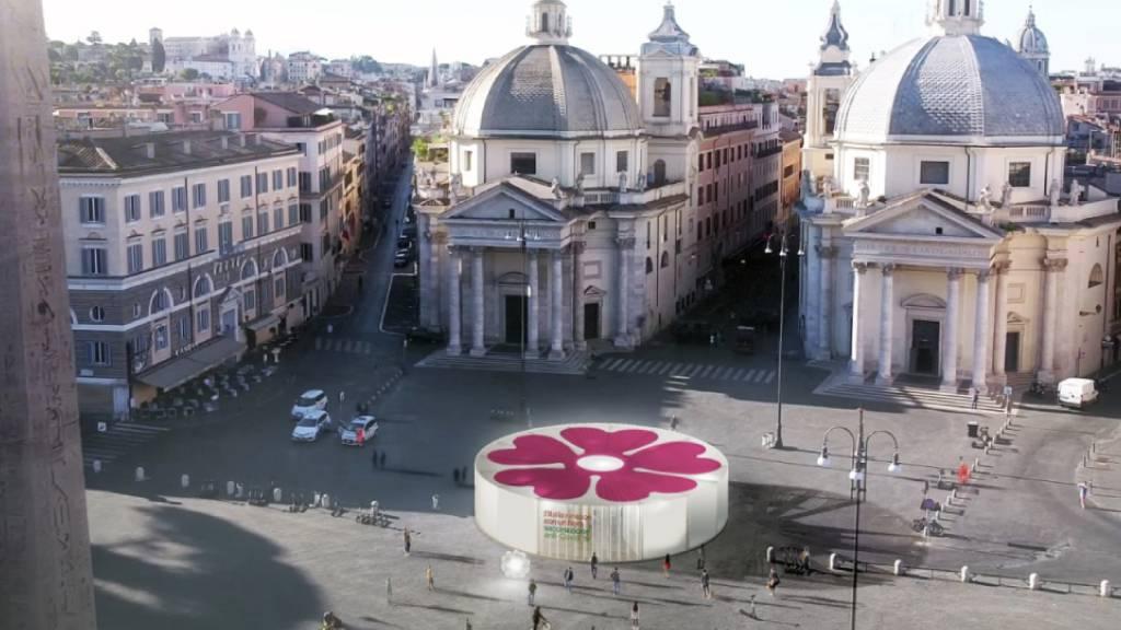 Illustration der nationalen Corona-Impfkampagne Italiens mit der Primel als Symbol, kostenfrei kreiert von Stefano Boeri Architetti für das Gesundheitsministerium.
