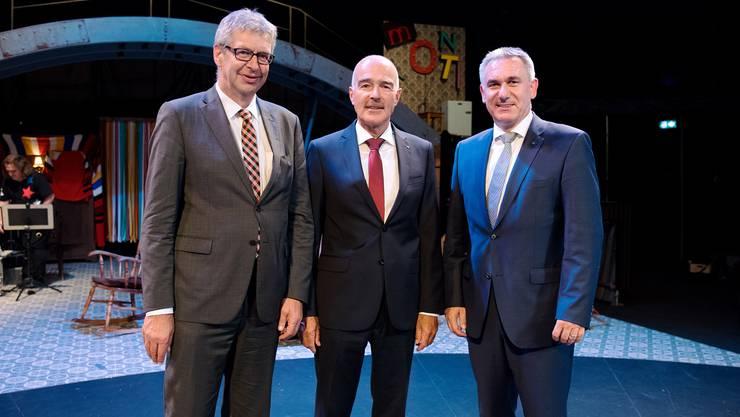 Daniel Mosimann (Stadtammann Lenzburg), Ruedi Suter (Rektor)  und Alex Hürzeler (Landammann) (v.l.n.r). Foto: Beni Basler