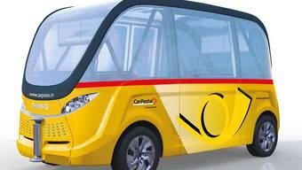 Den Chauffeur braucht es nicht mehr, das Postauto-Gelb bleibt, wie die Illustration der PostAuto Schweiz AG zeigt.