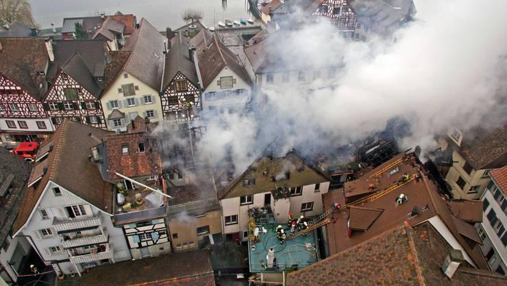 Luftaufnahmen vom Brand in der Altstadt von Steckborn.
