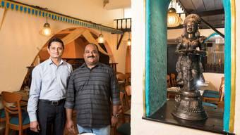 Ramesh Padmanabhan (links) und Sivakumar Balakrishnan im neu eröffneten Restaurant «Kanchi».