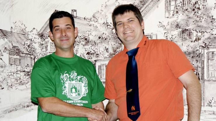 NEU UND ALT Raphael Schneider (l) übernimmt das Präsidentenamt von Marcel Riesen (r).