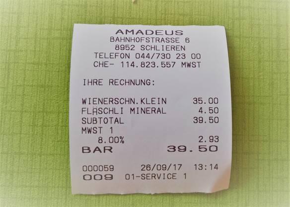 Zu den Preisen: das kleine Wiener Schnitzel kostet 35 Franken.