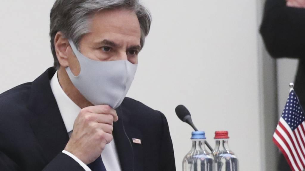 Antony Blinken, US-Außenminister, trifft zu einem Nato-Außenministertreffen im Nato-Hauptquartier ein. Foto: Yves Herman/Pool Reuters/AP/dpa
