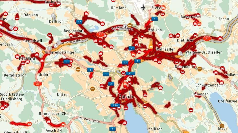 In Zürich herrscht momentan das Verkehrschaos.