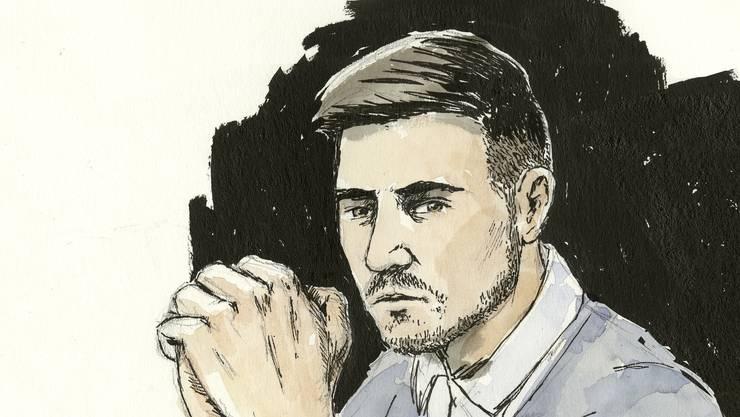 Thomas N., Vierfachmörder von Rupperswil: Die Zeichnung zeigt ihn am Prozess vor dem Bezirksgericht Lenzburg – am Berufungsprozess vor dem Aargauer Obergericht im Dezember 2018 liess er sich dispensieren.