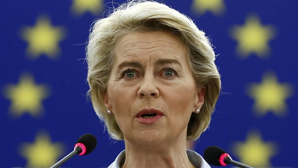 EU-Kommissionspräsidentin Ursula von der Leyen spricht während einer Plenarsitzung im Europäischen Parlament.