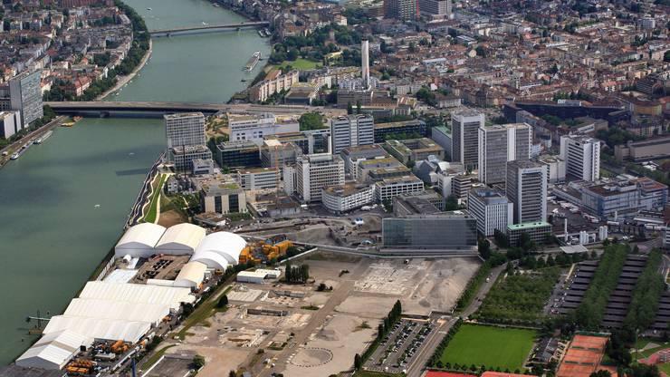Von Norden Der Novartis Campus bietet im nördlichen Teil derzeit eine grössere Brache, die sich weit auf französisches Gebiet hinzieht.