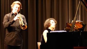 Trompeter Sergej Nakariakov und PianistinMariaMeerovitch bei ihrem Konzert im Rheinfelder Kurbrunnensaal. – Foto: ari