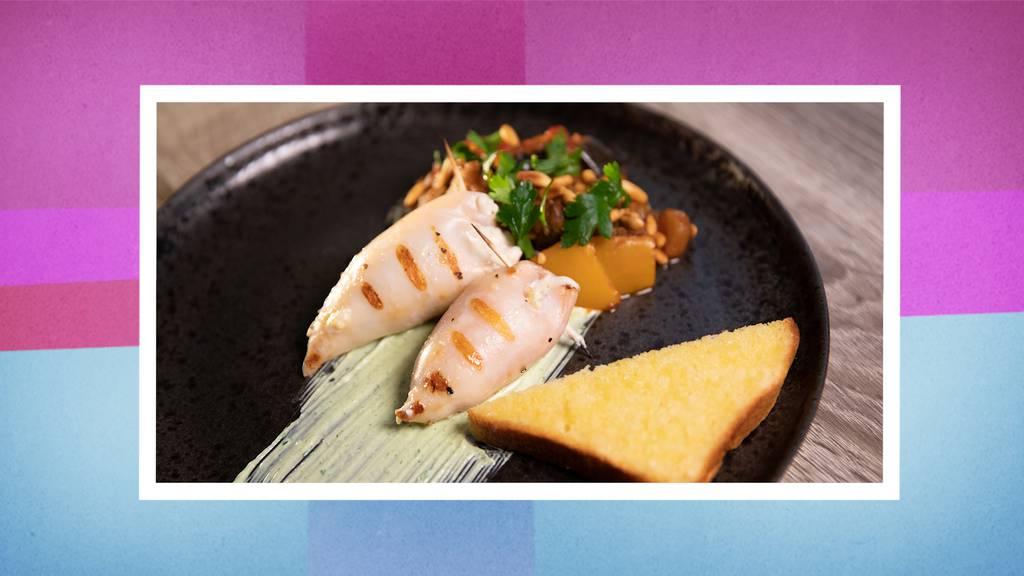 Gefüllte Calamari auf Grill-Caponata