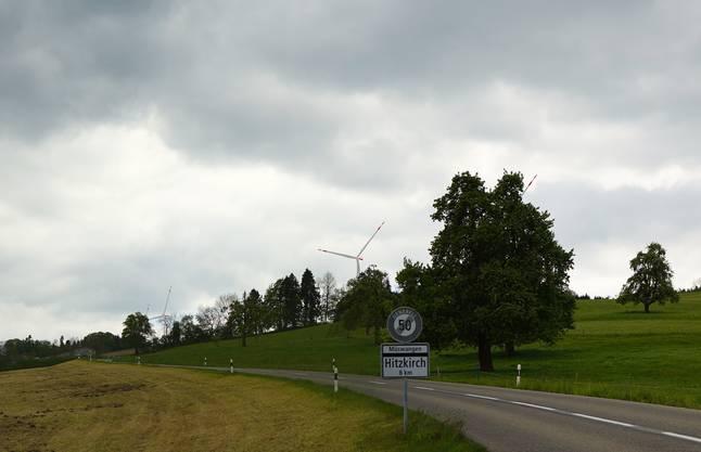 Auch von der Dorfausfahrt Geltwil her wäre der Windpark gut zu sehen.