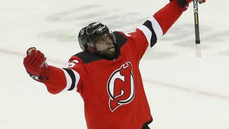P.K. Subban, der neu verpflichtete Starverteidiger der New Jersey Devils, kann endlich jubeln