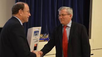 Zwei Schwergewichte in Freiämter Planungsangelegenheiten: Baudirektor Peter C. Beyeler (links) und Josef Nogara, Präsident des Regionalplanungsverbandes Oberes Freiamt. ES