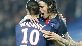 Torschützen von Paris St-Germain unter sich: Zlatan Ibrahimovic und Edinson Cavani (im Bildhintergrund)