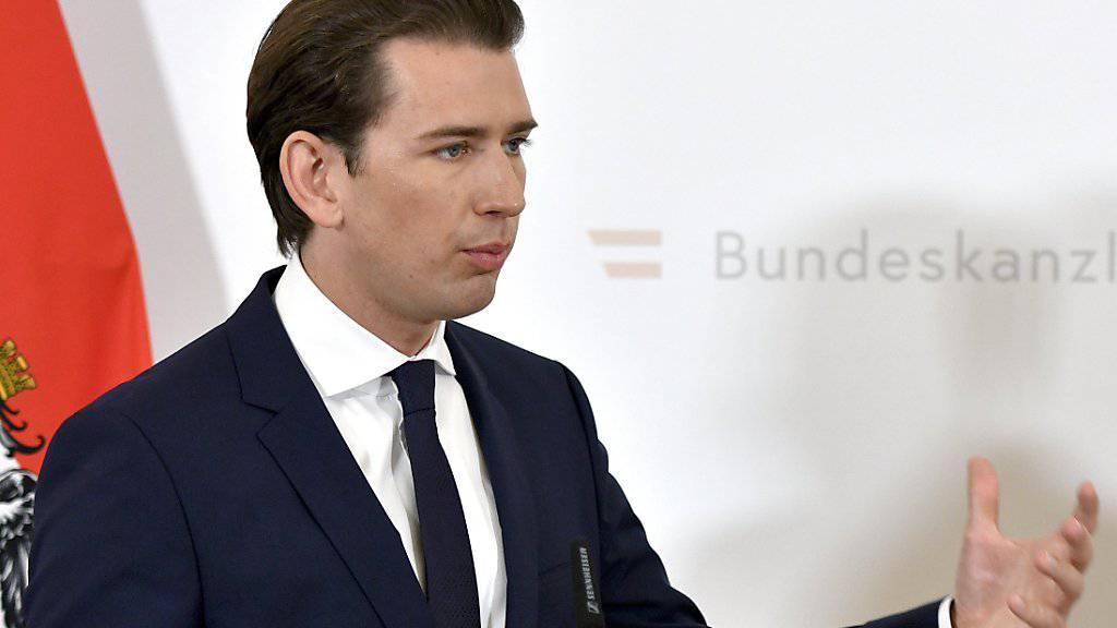 Bundeskanzler Sebastian Kurz erläutert in seinem Amtssitz am Ballhausplatz in Wien die Steuerreform.
