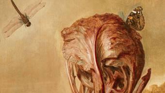 Ein eigenartiges Gemälde: «Ein Rotkohl, eine Schnecke, ein Schmetterling, eine Libelle, eine Biene und eine Assel in einer Landschaft.» Margareta de Heer malte das Bildchen zwischen 1600 und 1665.
