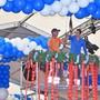 Fünf Tage lang wird gearbeitet, bis alles sitzt. Am Mittwoch wurde die Dekoration im Oktoberfest-Zelt angebracht: Der grosse Kranz und die vielen blau-weissen Ballone hängen bereits.
