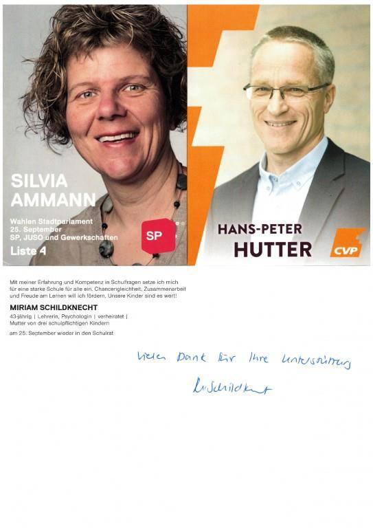 Vorbildlich! In Wil bedankt man sich noch handgeschrieben für eine allfällige Stimme. (© FM1today)