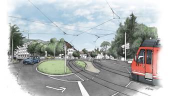 Ein Doppelspur-Gleis, hier im Baseltorkreisel.
