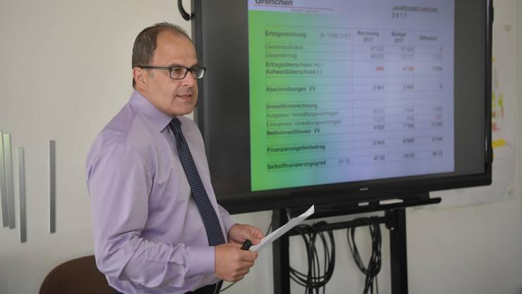 Medienorientierung zur Rechnung 2017 der Stadt Grenchen mit Finanzverwalter David Baumgartner im Hotel de Ville Grenchen.