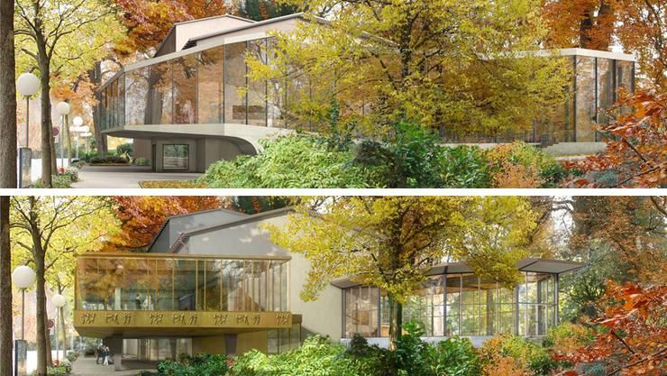 Kurtheater Baden: Oben das Siegerprojekt «Equilibre», unten die überarbeitete Version mit getrennten Foyers