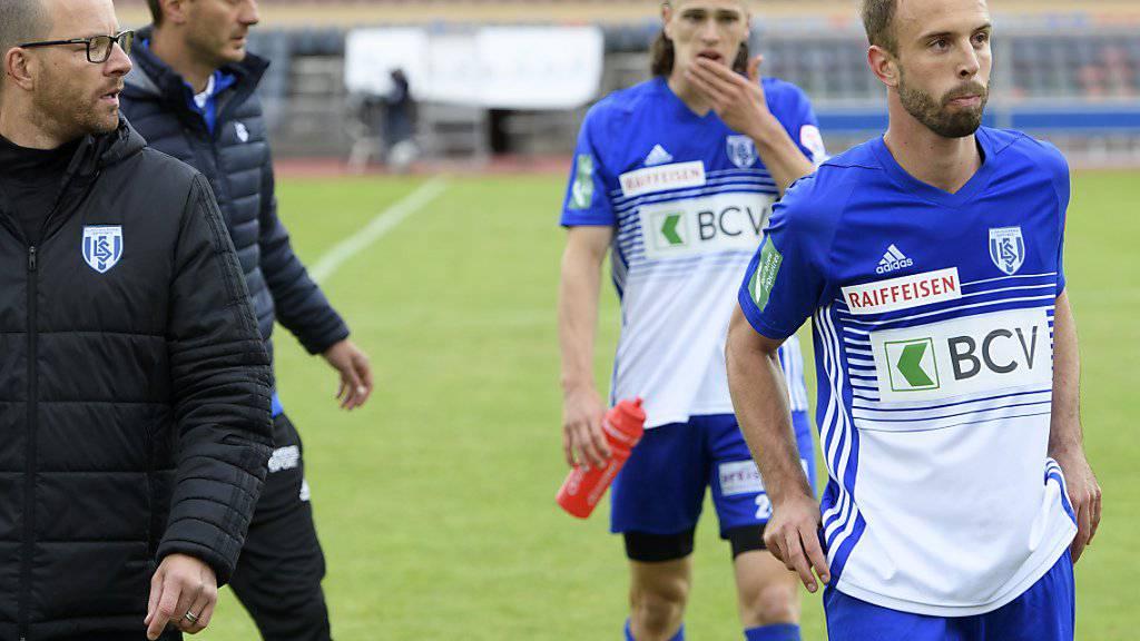Betretene Gesichter bei Lausanne-Sport nach dem Spielabbruch gegen Thun