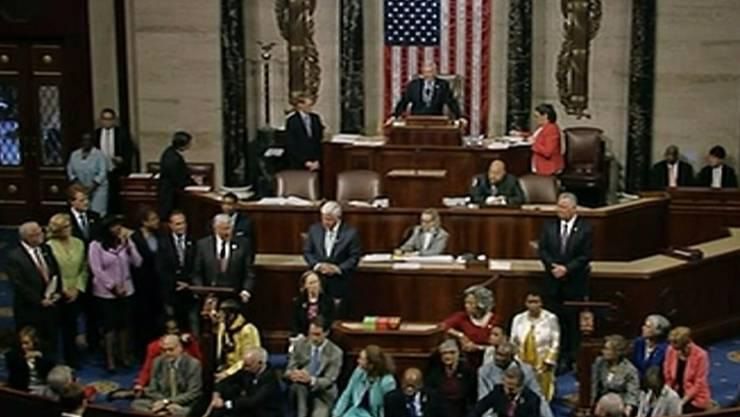 Diese Demokraten wollten mit der Sitzblockade eine Abstimmung über schärfere Waffenrechte erreichen.