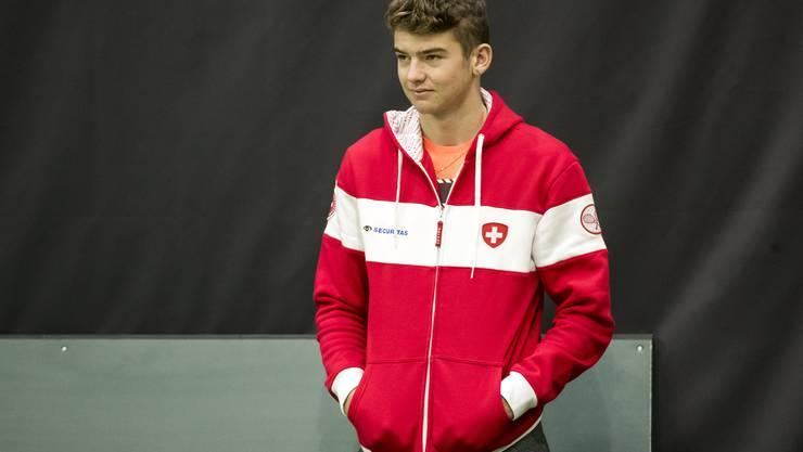 Jérôme Kym wurde im Februar in Biel zum jüngsten Davis-Cup-Spieler, den die Schweiz je eingesetzt hat. Er löste damit Heinz Günthardt ab.