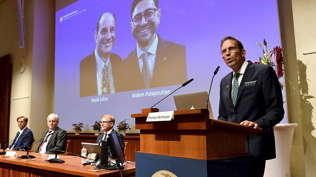 In Stockholm wurden am Montag die Nobel-Preisträger für Physiologie oder Medizin verkündet: Geehrt wurden die US-Forscher David Julius und Ardem Patapoutian.