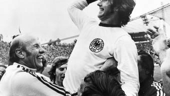 Gerd Müller in Siegerpose nach dem WM-Final 1974 gegen Holland