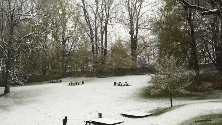 Der erste Schnee des Jahres verwandelt die Gegend um die Drei Weieren in eine Winterlandschaft, aufgenommen am Montag, 6. November 2017, in St. Gallen. (KEYSTONE/Gian Ehrenzeller)