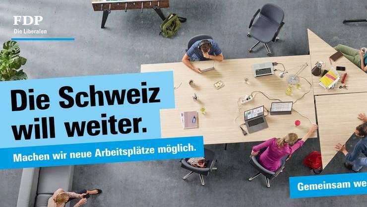 Auch neue Arbeitsplätze sind ein Wahlkampf-Thema auf den FDP-Plakaten.