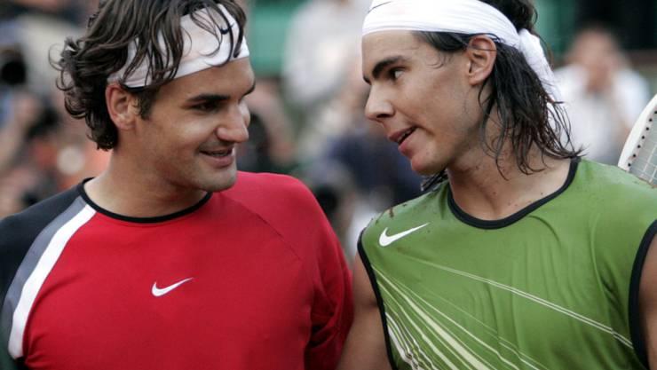 Roger Federer und Rafael Nadal im Juni 2005 in Paris nach einer ihrer ersten Direktbegegnungen