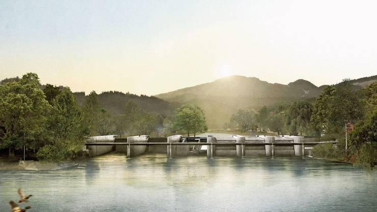 So soll das neue Aare-Kraftwerk in Aarau dereinst aussehen.