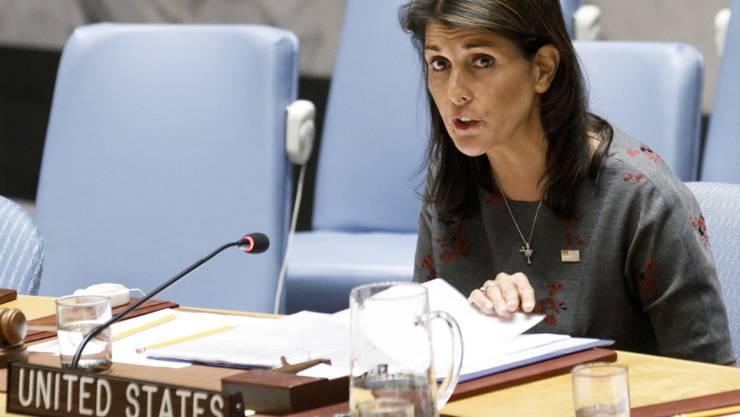 """""""Sanktionen gegen Nordkorea werden unterlaufen und behindert"""": die US-Botschafterin bei den Vereinten Nationen, Nikki Haley. (Archivbild)"""