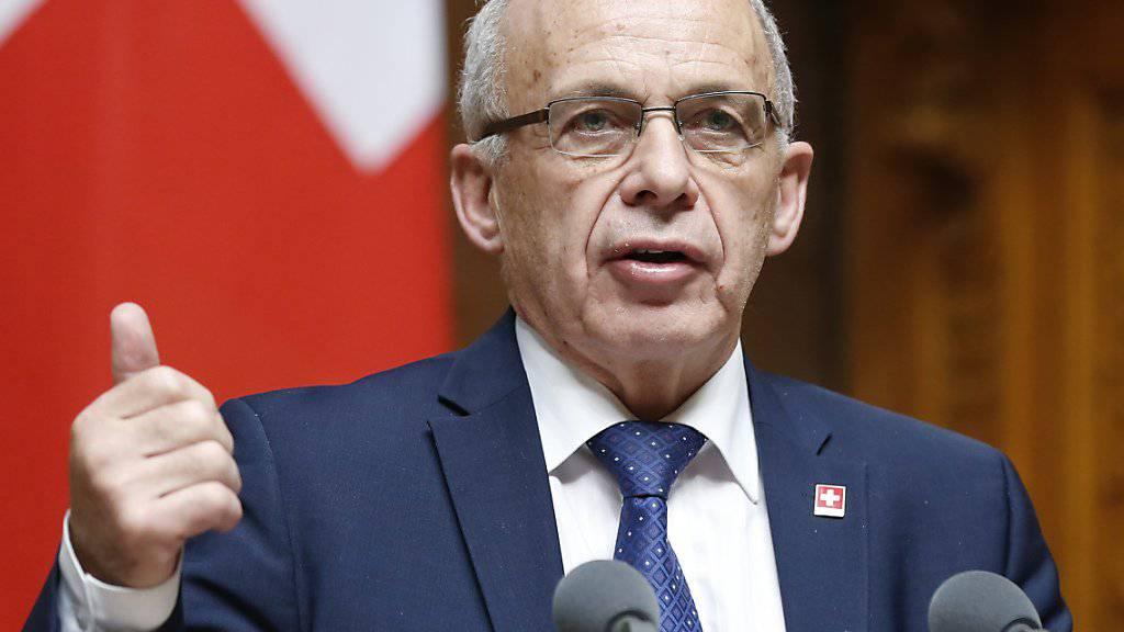 Finanzminister Ueli Maurer ist mit dem Ergebnis der Verhandlungen zwischen der Schweiz und der EU im Zusammenhang mit dem Kohäsionsbeitrag nicht zufrieden. (Archivbild)