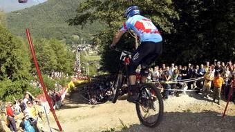 Am Monte Tamaro gab es schon viele spektakuläre Mountainbike-Events, wie hier 2003 bei den Downhill-Weltmeisterschaften.
